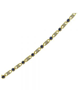 18ct yellow gold diamond and cabochan sapphire bracelet