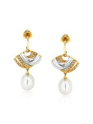 9ct yellow gold & white gold diamond and cultured pearl drop earrings