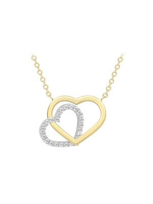 9ct White and Yellow gold plain and CZ heart necklace