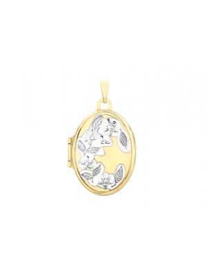 9ct Two Tone Gold Floral Detail Locket Pendant