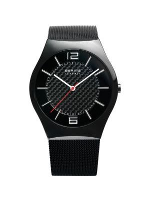Gents Bering black watch with carbon dial