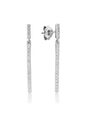Sterling silver stone set drop earrings