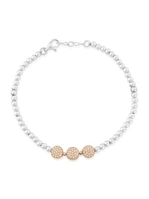 Sterling silver and roseplate cz bracelet