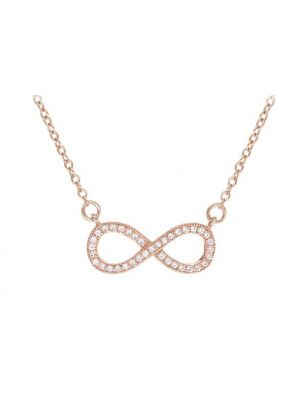 Sterling Silver Rose Gold Plated CZ Infinity Necklet