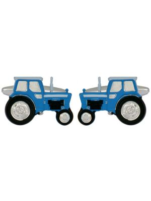 Stainless Steel Blue Tractor Cufflinks