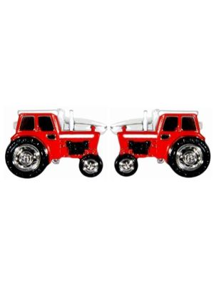 Stainless Steel Red Tractor Cufflinks
