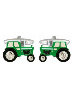 Stainless Steel Green Tractor Cufflinks