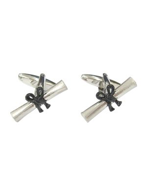 Stainless Steel Graduation Scroll Cufflinks