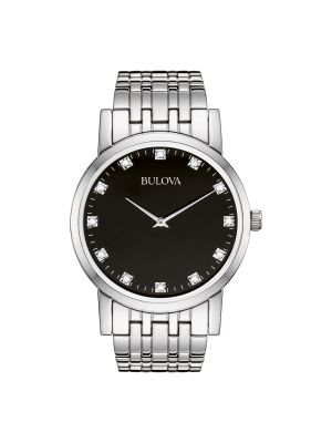 Gents Bulova steel watch with black dial