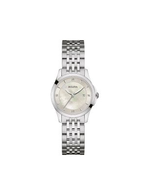 Ladies Bulova steel watch with diamond & mother of pearl dial