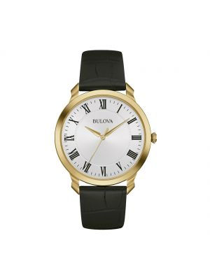 Gents Bulova gold plated and Black leather strap dress watch