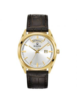 Gents yellow gold microplated black leather strap Bulova dress watch