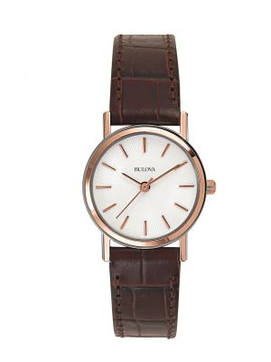 Ladies Bulova rose plated & brown leather strap watch