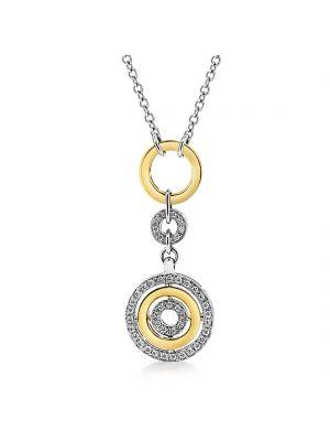 18ct white & yellow gold circular diamond set pendant