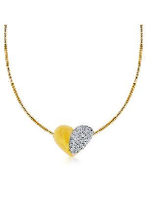 18ct yellow gold diamond set heart  chain