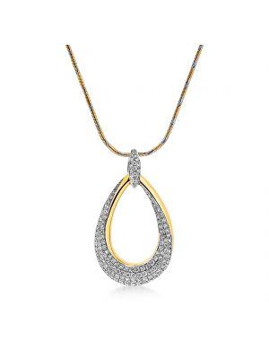 18ct yellow gold oval shape diamond pendant