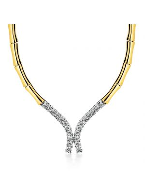 18ct yellow gold diamond set collerette
