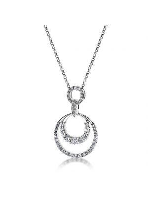 18ct white gold diamond set circular pendant