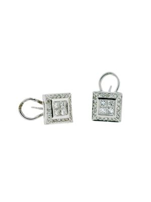 18ct white gold princess cut & round brilliant diamond earrings