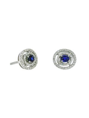 9ct  white gold diamond & sapphire oval stud earring
