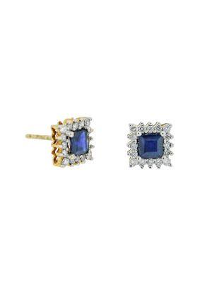 9ct yellow gold diamond & sapphire stud earring