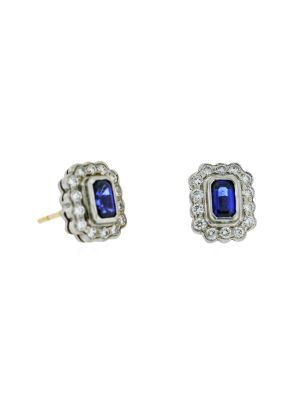 18ct white gold diamond & rectangular sapphire studs