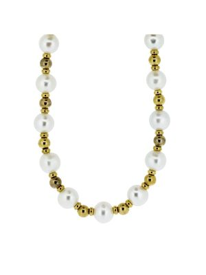 9ct yellow gold bead & white cultured pearl necklet