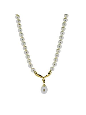 9ct yellow gold & cultured pearl drop necklet