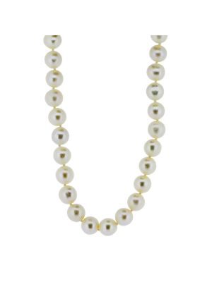7/7.5mm cultured pearl & freshwater necklet with 9ct gold clasp
