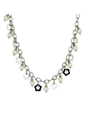 14ct White gold Italian cultured pearl & disk necklet