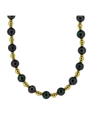 9ct yellow gold bead & black cultured pearl necklet