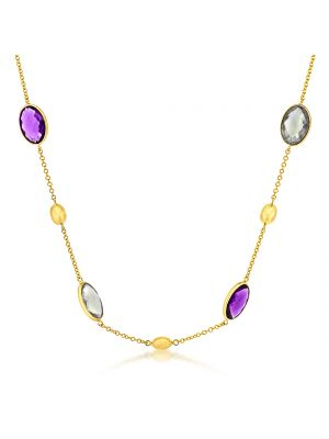 9ct rose gold multi stone necklet