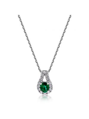 18ct white gold diamond & emerald pendant