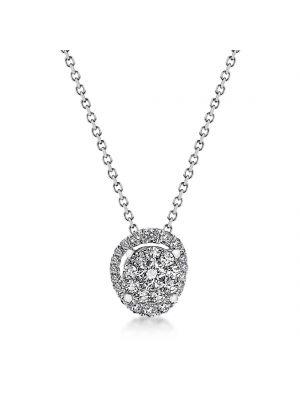 18ct white gold microset diamond pendant with diamond surround