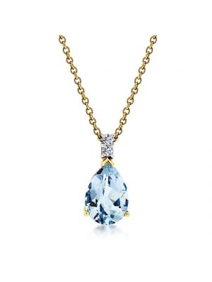 18ct yellow gold pear shape aquamarine & diamond pendant