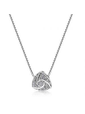 18ct white gold trilliant shaped diamond pendant