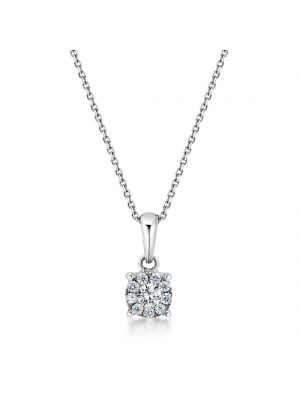 18ct white gold microset diamond pendant