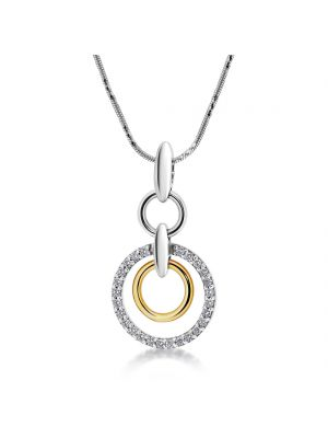 14ct white & yellow gold diamond set pendant