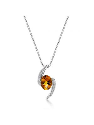 18ct white gold oval citrine & diamond pendant