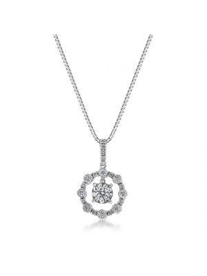 18ct white gold diamond microset pendant