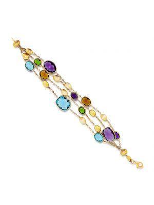 9ct yellow gold four strand multi stone bracelet