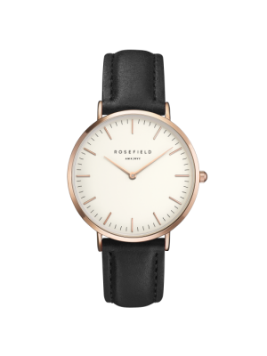 Rosefield bowery collection black leather strap, with rose case & white dial