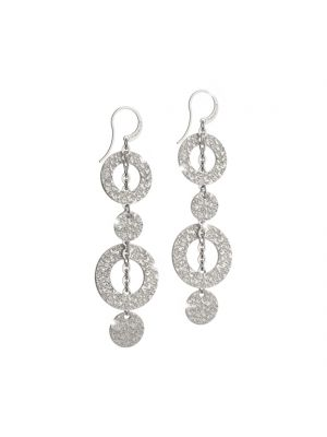 Rebecca white gold microplated on bronze circular drop earrings