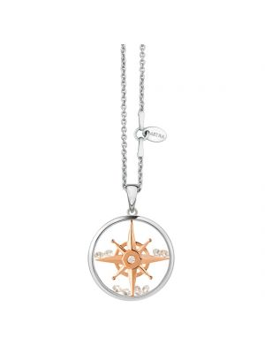 Astra Sterling silver and rose gold compass pendant and chain