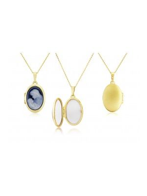 9ct Yellow Gold Agate Cameo Locket and Chain