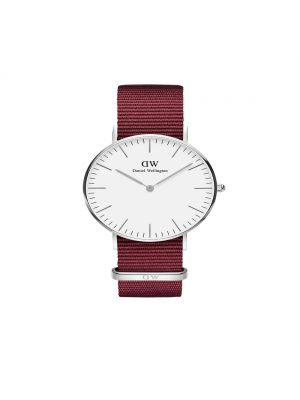 Daniel Wellington Classic 36mm Roselyn silver watch with white dial and ruby red nato strap