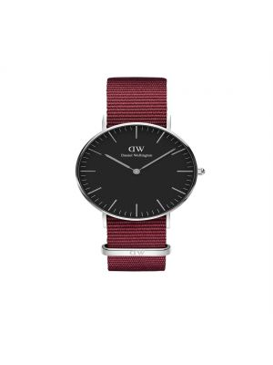 Daniel Wellington Classic 40mm Roselyn Silver case with black dial and ruby red nato strap