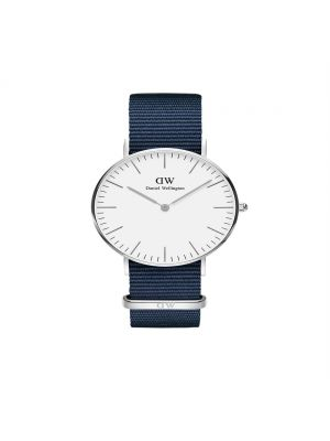 Daniel Wellington Classic 40mm Bayswater silver case with white dial and midnight blue nato strap