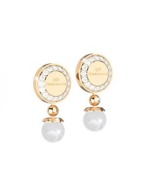 24ct Rebecca Yellow Gold Microplated On Bronze Cz and Pearl Earrings