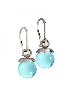 24ct Rhodium Plated on Bronza Drop Earrings With Blue Stone